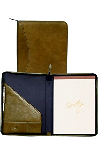 Italian Zippered Leather Padfolio (aloe) by Scully