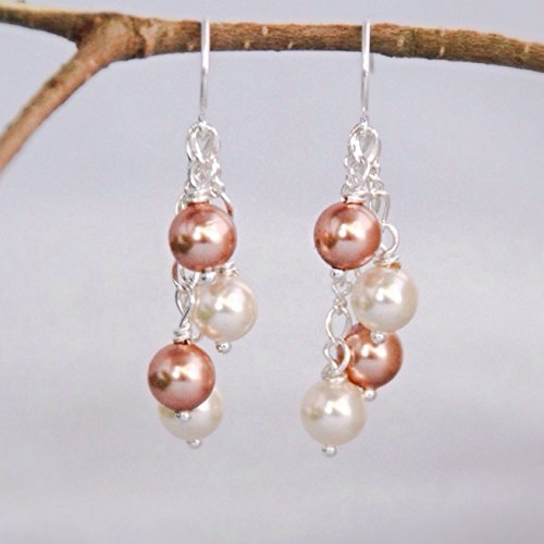 Silver Tone Dangle Cream and Rose Gold Color Swarovski Element Simulated Cluster Pearl Earrings