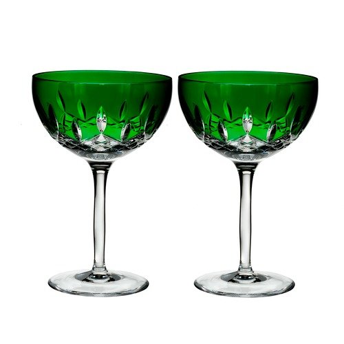 Waterford Lismore Pops Set of 2 Cocktail Glasses Emerald -