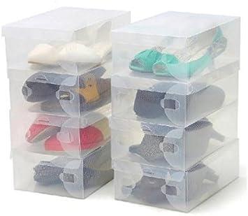 Thinp 10x Cajas de Zapatos Transparentes, Caja Zapatero Plástico Apilable Plegable, Cajon Organizador de Zapatos, Bolsos, Cinturones, Bufandas u otros accesorios Vestuario: Amazon.es: Hogar