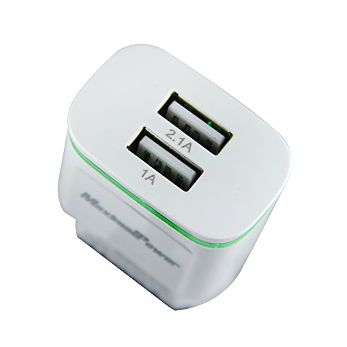 well-wreapped MaximalPower USB Wall charger/Adapter with dual port 2.1A/5V for iPhone, iPad, Samsung, HTC, Kindle and more (1 Pack)