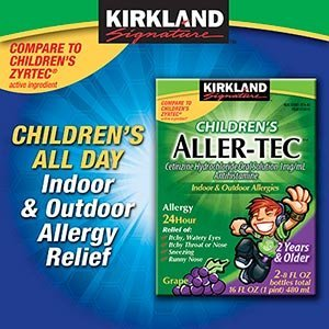 24 Hour allergy relief for kids; once a day dosing - Generic Children's Cetirizine Hydrochloride Oral Solution 16 Oz from Kirkland by Kirkland Signature