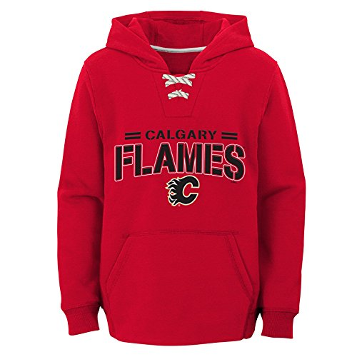 Outerstuff NHL Calgary Flames Youth Boys Standard Issue Fleece Hoodie, Large(14-16), Red