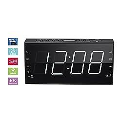 AM/FM Radio Alarm Clock, Dimmer, Sleep Timer, 1.8 White LED Display (PCR-3188)