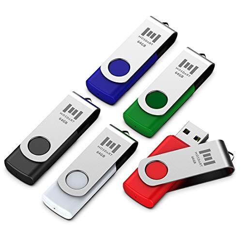 mosDART 5 X 64GB USB2.0 Flash Drive Swivel Bulk Thumb Drives Memory Sticks Jump Drive Zip Drive with Led Indicator,Black/Blue/Red/White/Green(64G,5pack Multicoloured)