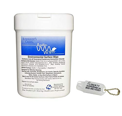 Audio-Wipes Cleaning Towelettes - Small Canister (36 Wipes) and Liberty Hearing Aid Battery Keychain