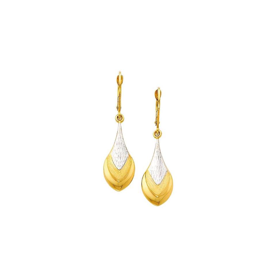 14k Two Tone Gold Teardrop Dangle Earrings (42 x 12 mm)