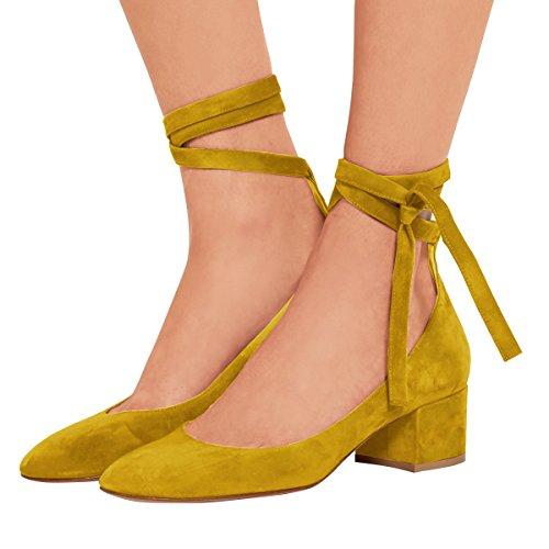 Fsj Femmes Rétro À Bout Rond Pompes Chunky Talons Bas Lace Up Chaussures De Marche Confortables Taille 4-15 Us Jaune