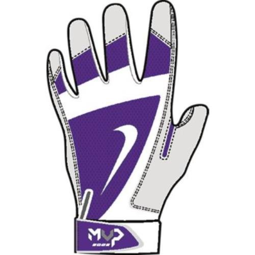 Nike MVP Edge Baseball Batting Glove Court Purple/Bone/White Size Medium