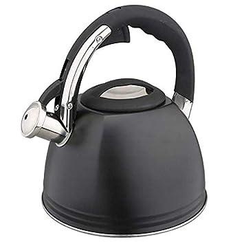 Wasserkessel Edelstahl 3 L Flötenkessel Teekessel Wasserkocher Induktion Schwarz