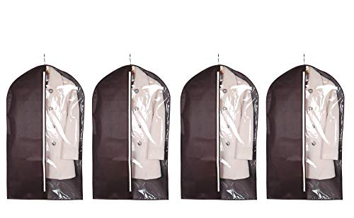 iTIDY Garment Bags-Suit Covers, Breathable Clothing Storage Bags,Lightweight Coat Covers for Closet & Travel,Chocolate Colour with Practical Clear Window,Pack of 4