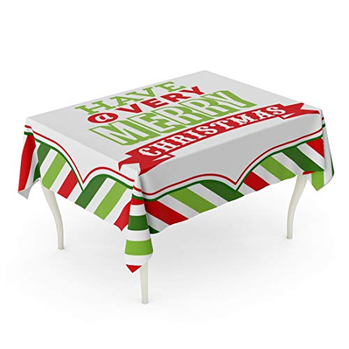Tarolo Rectangle Tablecloth 52 x 70 Inch Holiday of Christmas Word Have Very Merry Phrase on Fancy Against Colorful Stripe Clip Arts Table Cloth