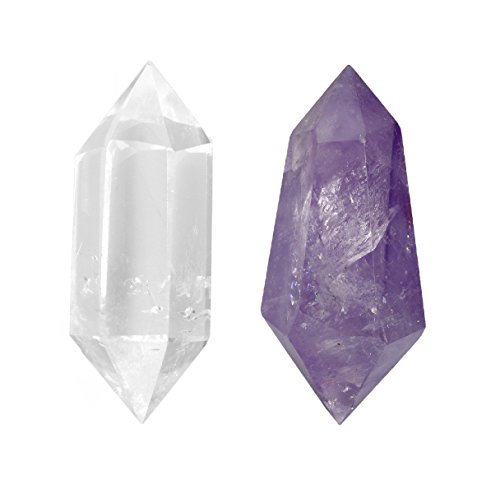 SUNYIK Natural Amethyst/Rock Quartz Double Terminated Wand,6 Facet Hexagonal Prism Crystal Point Figurine Gemstone Pack of -