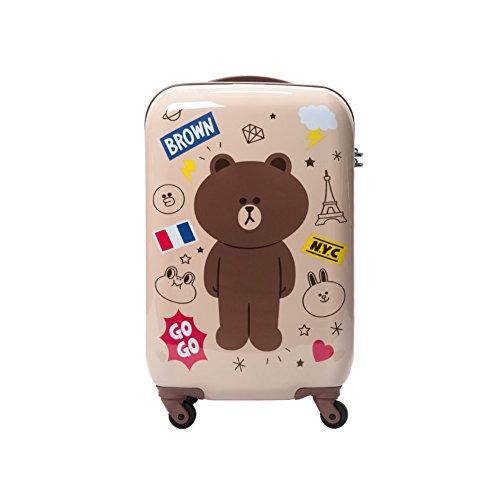 Samsonite Kids Luggage - SAMSONITE x LINE FRIENDS Suitcase Gentle Brown Pink Choco Spinner Luggage 20/24 / 28 inch (Beige(gentle brown))