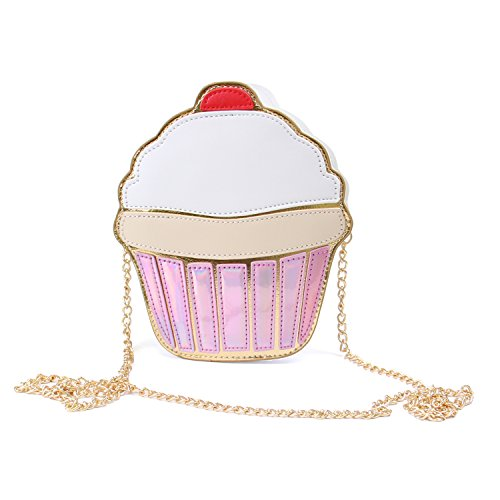 SUKUTU Girls Cupcake PU Bandolera de cuero Bolso bandolera Monedero pequeño