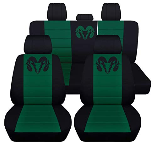 Fits 2012 to 2018 Dodge Ram Front and Rear Ram Seat Covers 22 Color Options (Solid Rear Bench, Black Emerald ()