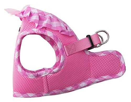 - PUPTECK Checkered Frills Soft Mesh Dog Vest Harness Puppy Padded Pet Harnesses for Cat Small Dogs Pink Small