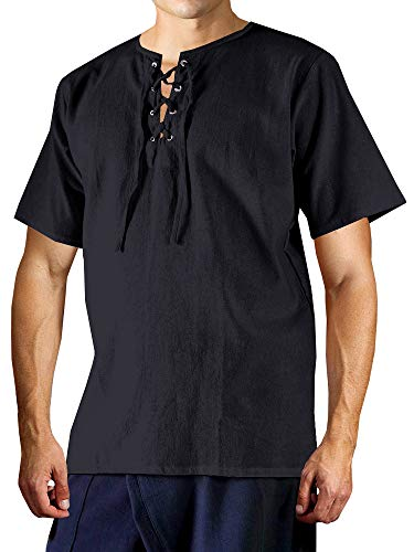 Men's Rogue Shirt Renaissance Clothing Medieval Costume Pirate Shirts Steampunk Lace Up Mercenary Halloween Shirt Short Sleeve Tunic Tops for ()