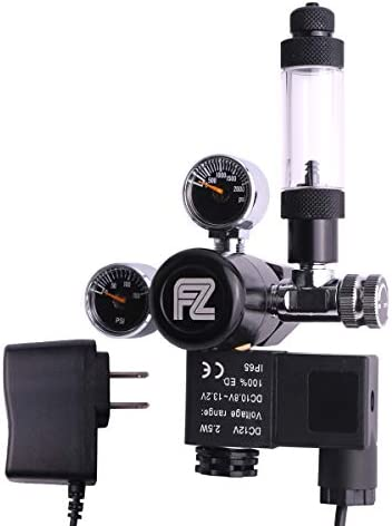 FZONE Aquarium CO2 Regulator DC Solenoid Mini Dual Gauge DisplayBubble Counter and Check Valve for US Standard CGA320 CO2 Cylinder