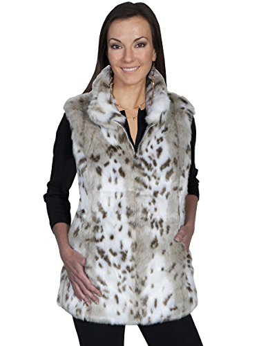 - Scully Women's Siena Reversible Faux Leather/Fur Vest Cream Outerwear MD