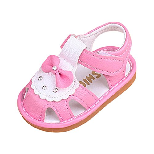 DEESEE(TM) Baby Shoes For 3-24M Hollow Sandals Soft Sole Princess Girls Bowknot Beach Anti-Slip Squeaky Single Shoes (18M, Pink) -