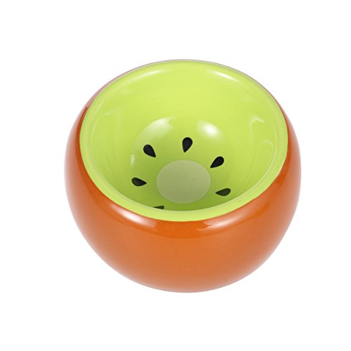 (UEETEK Ceramic Prevent Tipping Moving and Chewing Food Dish Hamster Bowl for Small Rodents Gerbil Hamsters Mice Guinea (Kiwi Fruit))