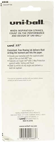 uni-ball AIR Rollerball Pens, Fine Point (0.7mm), Black, 3 Count by Uni-ball (Image #1)