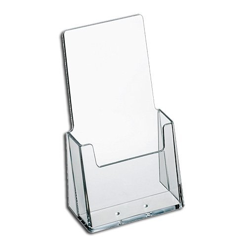 "SourceOne Brochure Holder for 4"" Bi-Fold Booklets – Clear Acrylic Counter Top – 6 Pack"