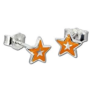 Tee-Wee Niños pendientes Naranja en la parte de estrella pendientes 925er plata niños pendientes joyas SDO200R