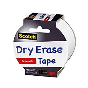Scotch Dry Erase Tape, White, 1.88-Inch x 5-Yard