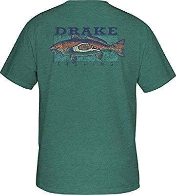 Drake Fishing Redfish Short Sleeve T-Shirt - Mint Black Heather