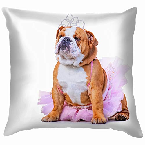 Cute Bulldog Dressed Pink Tutu Princess Animals Wildlife Dog Cotton Throw Pillow Case Cushion Cover Home Office Decorative, Square 26X26 Inch]()