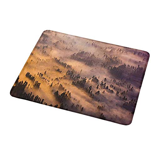 """Mouse Pad Rubber Mousepad Mystic,Sunrise Over a Foggy Mystic Forest Summer Morning Time Wildlife Scenic Picture,Yellow Brown,Personality Desings Gaming Mouse Pad 9.8""""x11.8""""inch"""