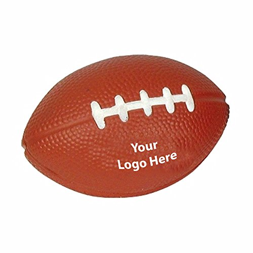 Football Stress Reliever - 100 Quantity - $1.15 Each - PROMOTIONAL PRODUCT / BULK / BRANDED with YOUR LOGO / CUSTOMIZED (Imprinted Balls Stress)