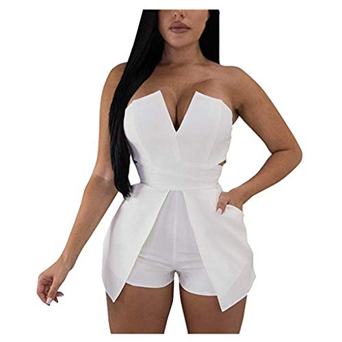 AHAYAKU Women's Tube Top Strapless Split Wide Leg Jumpsuits Rompers White ()