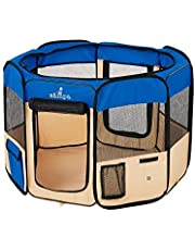 "Zampa Portable Foldable Pet playpen Exercise Pen Kennel Carrying Case for Larges Dogs Small Puppies/Cats | Indoor/Outdoor Use | Water Resistant (Extra Small (29""x29""x17""), Blue)"