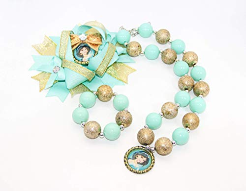 Princess Bubblegum Outfits - Princess Jasmine Hair Bow, Necklace and
