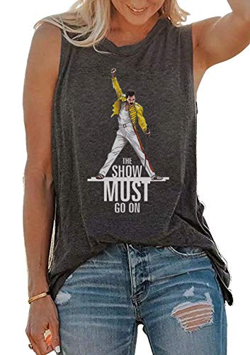 (Freddie Mercury Queen Tank Tops The Show Must Go On Funny Women's Vintage Vest Shirt Cute Letter Graphic Sleeveless Cami Tee (Grey, Medium))