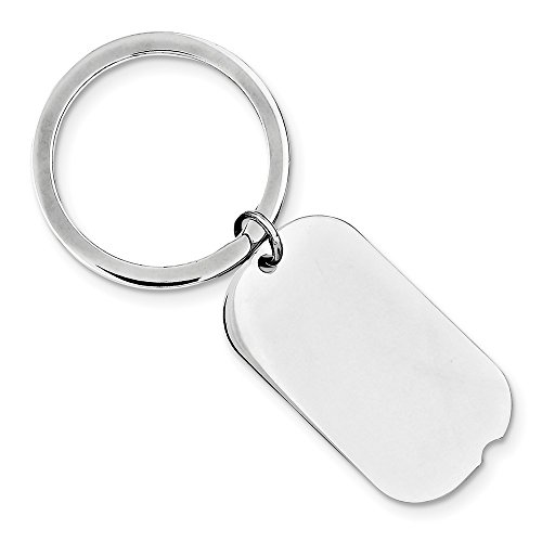 (Sterling Silver Rhodium-plated Key Chain, Sterling Silver)
