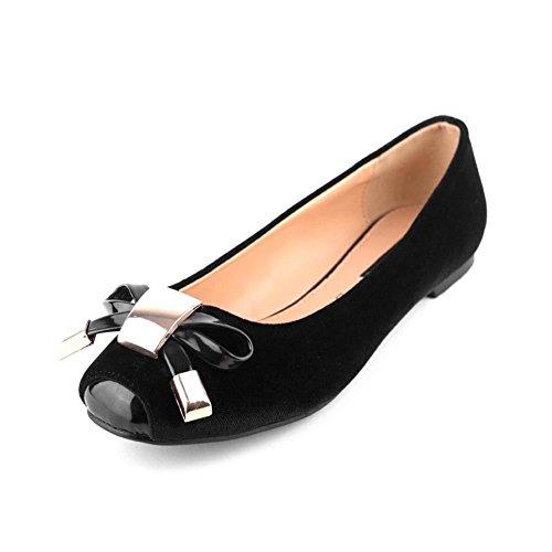 Zapatos planos suedette Negro con puntera de patentes y el arco