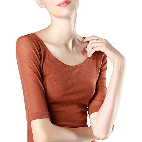 Fendou Scoop Neck Top Mesh See Through Half Sleeve for Women Sheer Slim Fit Tee Fitted Layering T Shirt Summer Caramel