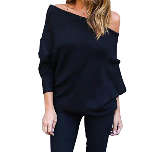 Vicheer Women's Sexy Long Sleeve Adjustable Solid Blouse Off Shoulder Knit Sweaters Black S