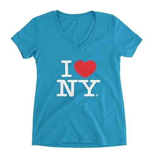 I Love NY Womens V-Neck Baby Doll Shirt ILNY-TUQILV5961 Turquoise S