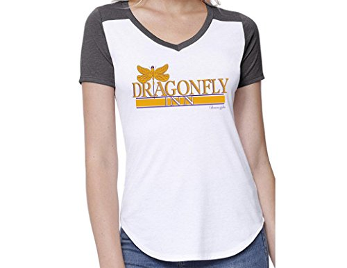 Ripple Junction Gilmore Girls Womens Dragonfly Inn Light Weight 100% Cotton V-Neck T-Shirt XL White/Charcoal