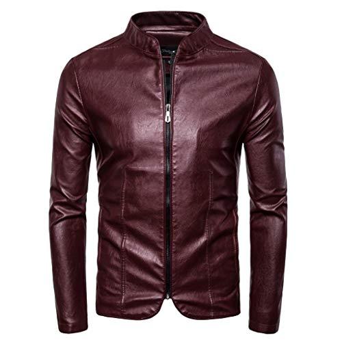 iHHAPY Motorcycle Jacket Men Warm Faux Leather Jacket Winter Transition Jacket Biker Pilot Jacket Coat Bomber Jacket ()