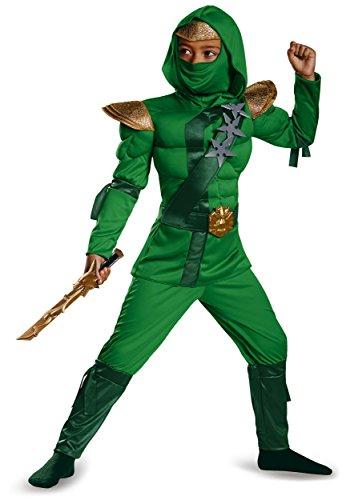 [Disguise 76580L Green Master Ninja Classic Muscle Costume, Small (4-6)] (Green Ninja Boy Costume)