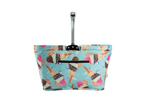 Pique Ice Cream - MiMM Foldable Multipurpose Insulated Picnic Bag/Basket with Aluminum Handle, Large (Ice Cream)