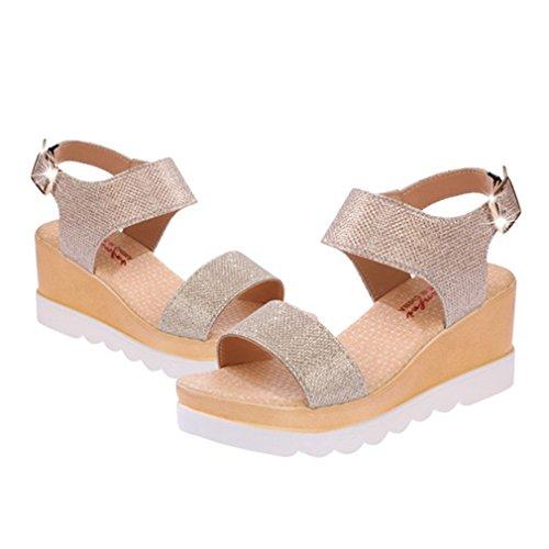 Cybling Mote Sommer Kile Plattform Sandaler For Kvinner Peep Toe Heeled Sko Gull