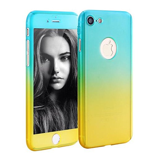 iPhone 6 Plus/6s Plus Full Body Hard Case-Aurora Black Front and Back Cover with Tempered Glass Screen Protector for iPhone 6 Plus/6s Plus 5.5 Inch (blue to yellow)