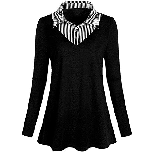 Women V Neck Stripes Button Down Blouse Shirts Long Sleeve Casual Office Work Tunic ()